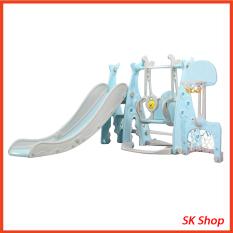 Cầu trượt cho bé , bộ cầu trượt kiêm xích đu bóng rổ nhựa nguyên sinh mẫu cao cấp an toàn cho bé, vui chơi cho trẻ
