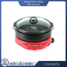 Nồi lẩu và nướng điện Cookin KEP105 (màu trắng và đỏ)