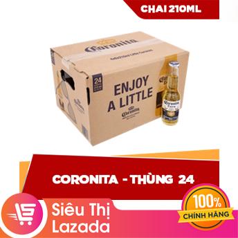 [Siêu thị Lazada] [FREESHIP HCM & HN] Thùng 24 chai Coronita 210ml (24 x 210ml) nồng độ cồn thấp, hương vị đặc trưng, màu bia vàng tươi đẹp mắt