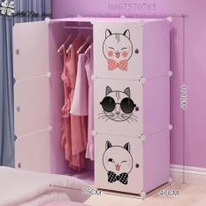 Tủ nhựa lắp ghép thông minh Luckyday 6 ngăn hồng mèo