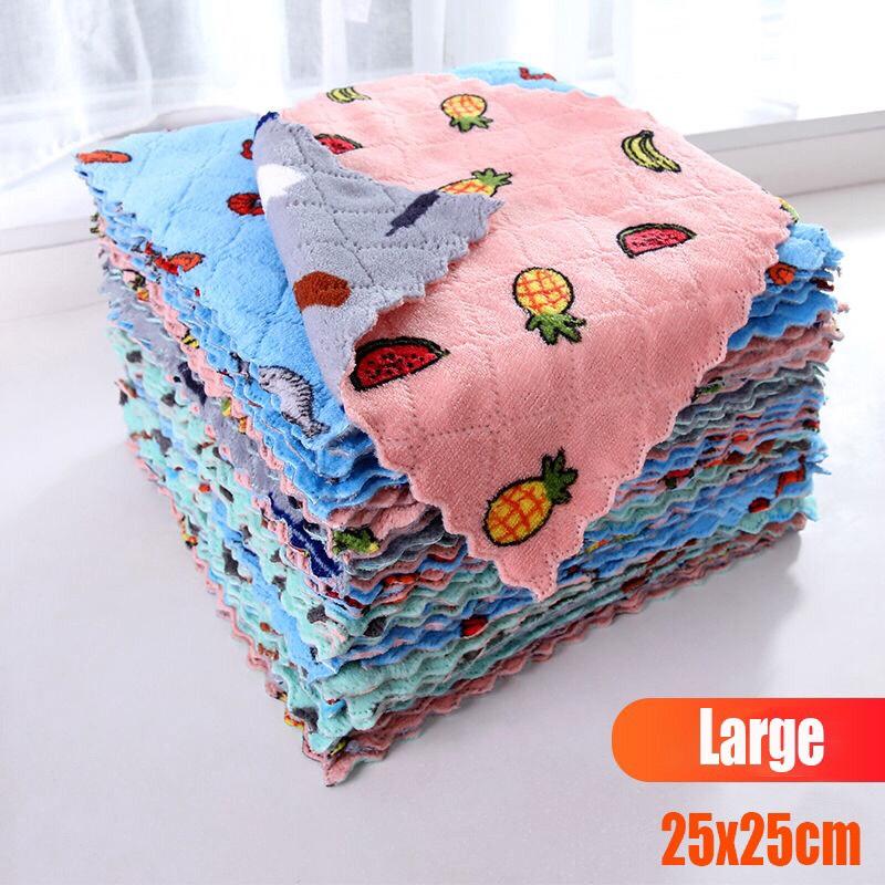 Set 10 Khăn Lau Đa Năng Mẫu Mới Size Lớn 25x25cm - Khăn lau bếp siêu thấm nước Dumi Shop