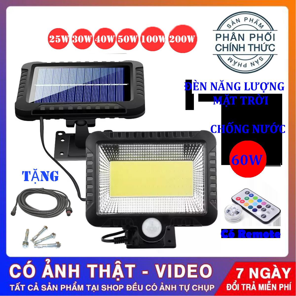 (Bảo Hành 12 tháng) Đèn năng lượng mặt trời 60W , Chống nước dùng trong cả mùa mưa , đèn năng lượng mặt trời có điều khiển( remote)