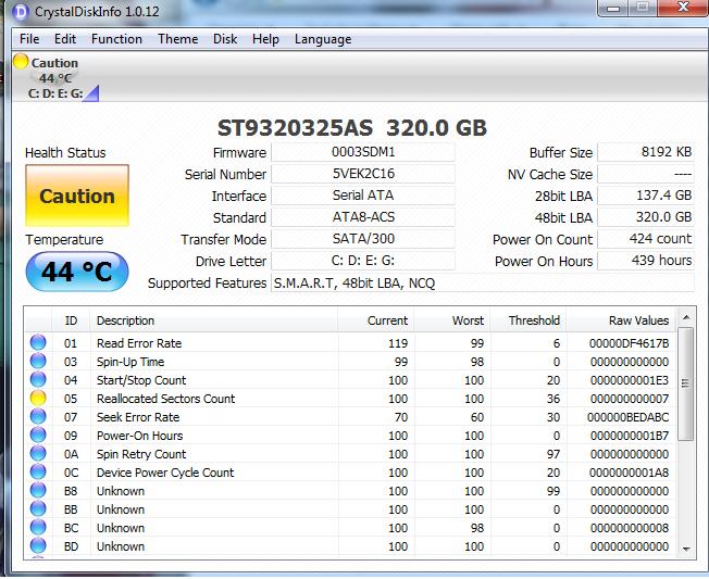 Ổ Cứng HDD Laptop chuẩn SATA 320G Caution Kĩ Thuật