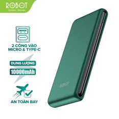 [Bảo Hành 12 tháng] Sạc dự phòng ROBOT RT180 10000mAh thiết kế nhỏ gọn 1 cổng USB và 1 cổng Micro/Type-C tặng dây sạc Micro – Hàng chính hãng