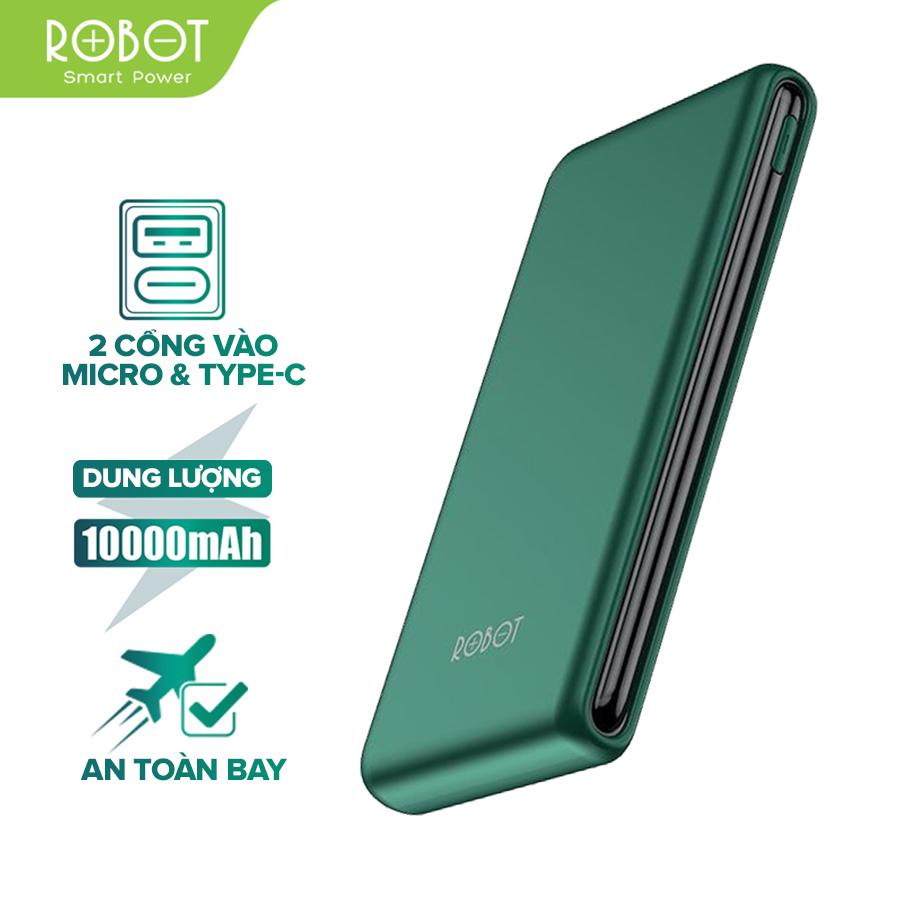 [Bảo Hành 12 tháng] Sạc dự phòng ROBOT RT180 10000mAh thiết kế nhỏ gọn 1 cổng USB và 1 cổng...