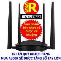 Bộ phát Wifi (Router Wifi) băng tần kép TOTOLINK A800R AC1200 màu Đen