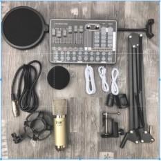 Combo mic thu âm AT100 soundcard H9 chân kẹp màng lọc- bộ livestream soundcard H9 có bluetooth autu-tune