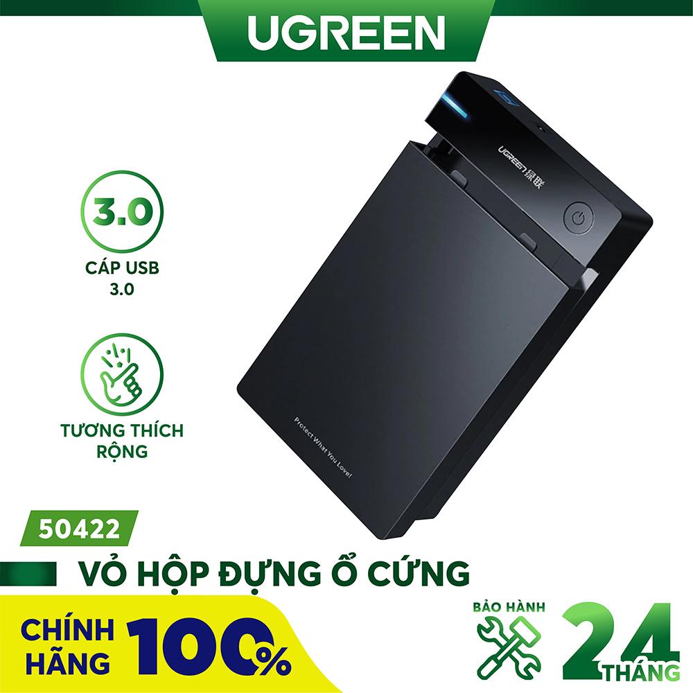 Vỏ hộp đựng ổ cứng 3.5/2.5 inch SATA/USB 3.0 hỗ trợ 10TB dài 30-50cm UGREEN US222 - Hãng phân phối...