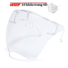 Combo 10 kính phòng dịch che mặt chống giọt bắn có gọng gương Face SHIELD kèm 10 khẩu trang
