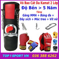 Vỏ bao cát trụ đấm bốc boxing tặng găng bao tay tập mma hoặc Băng đa boxing, mma + Dây xích + móc treo, độ bền trên 5 năm