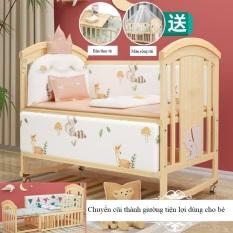 Combo đủ bộ cũi kéo dài – Cũi 2 tầng KAWAII size 120cm kéo dài thành giường – Kích thước cũi 120x70x102cm, bánh xe khóa, đệm xơ dừa, bộ quây cũi, màn, thiết kế bàn thay tã, đệm chống thấm, dán icon. KAWAII HOME