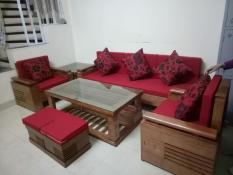 Bộ bàn ghế sofa trứng đối nan gỗ sồi