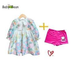 [TẶNG CHÍP] Đầm Voan Lụa Cao Cấp Tay Lỡ Thắt Nơ bé gái BabyBean