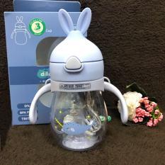 Bình uống nước chống sặc cho bé Diller, Bình tập uống có ống hút và dây đeo 320ml hình tai thỏ dễ thương bằng nhựa ABS cao cấp chịu nhiệt tốt, an toàn cho bé yêu