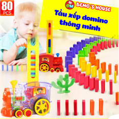 Đồ chơi thông minh cho bé, tầu hỏa xếp hình 80 miếng domino,tàu hỏa đồ chơi, đồ chơi bé trai