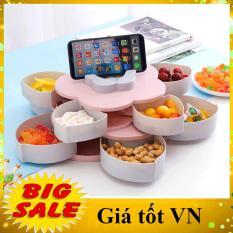 [HÀNG F1-ĐƯỢC CHỌN MÀU] Khay đựng mứt tết, bánh kẹo hoa quả 2 tầng 10 cánh xoay 360 độ sang trọng tiện dụng gọn gàng, hộp đựng bánh kẹo có kèm khe giá đỡ điện thoại thông minh tiện lợi