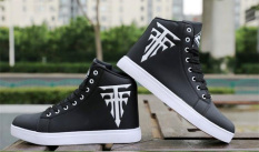 Giày cao cổ da nam – Trắng in thánh giá có 2 màu phong cách