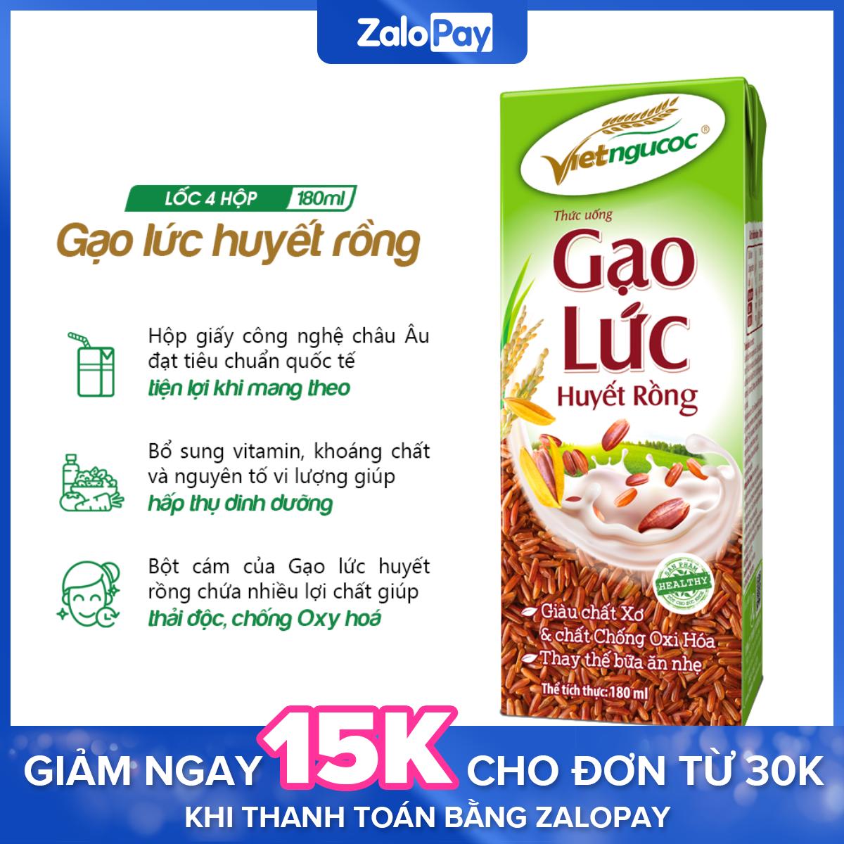 Thức uống Gạo lức huyết rồng Việt Ngũ Cốc lốc 4 hộp 180ml – Tặng Oatta Pillow Yến mạch Chocolate