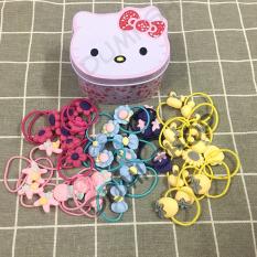 Hộp 40 Thun Cột Tóc Hello Kitty Dễ Thương Cho Bé