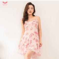 Váy ngủ sexy nữ 2 dây voan mềm xuyên thấu bèo nhún xếp ly nhiều màu VG87 Hàng thiết kế Thương hiệu Vingo – VNGO