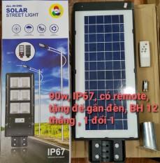 Có remote – Đèn led năng lượng mặt trời công suất 90w liền thể kèm cảm biến chuyển động bảo hành 12