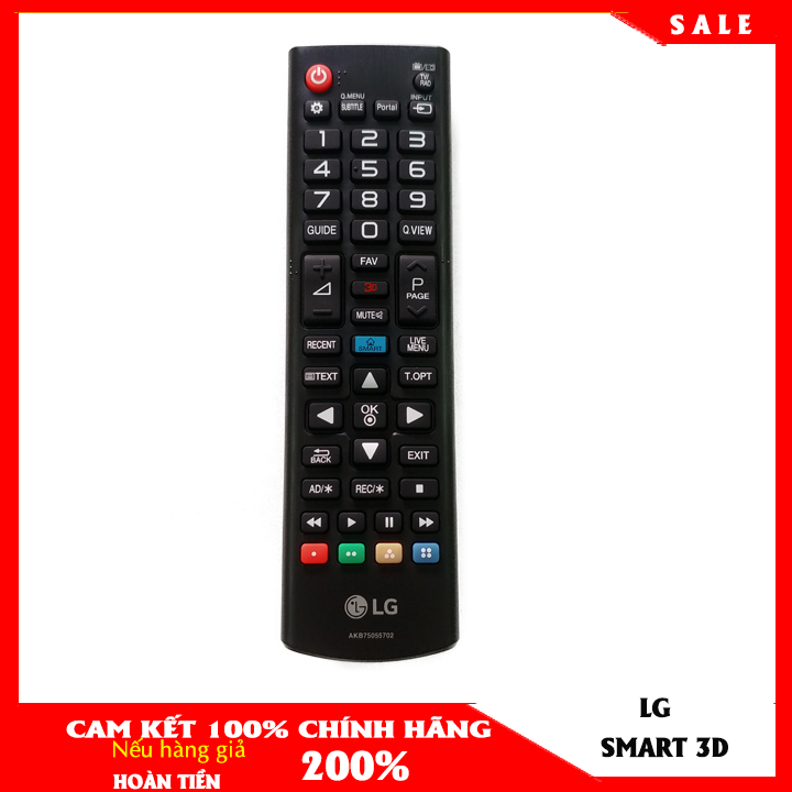 Điều khiển remote tivi LG smart CHÍNH HÃNG màu đen phím tắt 3D dùng được cho tất cả tivi LG
