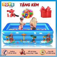 [Tặng Kèm Bơm Điện] Bể Bơi Cho Bé, Bể Bơi Phao Bơm Hơi Tại Nhà, Hồ Bơi 3 Tầng Kích Thước 1M3, 1M5, 1M6, 1M8, 2M1, Chất Liệu PVC chống trượt bền bỉ an toàn cho bé.