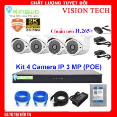 Trọn bộ camera 4 mắt – trọn bộ 4 camera – Bộ KIT 4 camera IP( 4 Thân) 3.0MP KingWo (POE) – Có ổ cứng 500G,mắt KIM LOẠI chống nước-Bảo hành 2 năm 1 đổi 1