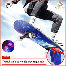 [Tặng Đồ Bảo Hộ] Ván trượt thể thao Ván trượt skateboard cao cấp gỗ phong ép 7 lớp mặt nhám có đèn led phát sáng