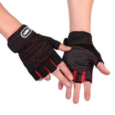 Bộ 2 găng tay tập gym có dây cuốn bảo vệ cổ tay Màu Đen Đỏ