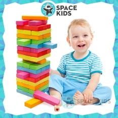 Đồ chơi rút gỗ 54 chi tiết kèm xúc xắc nhiều màu sắc cho bé vui chơi – Space Kids