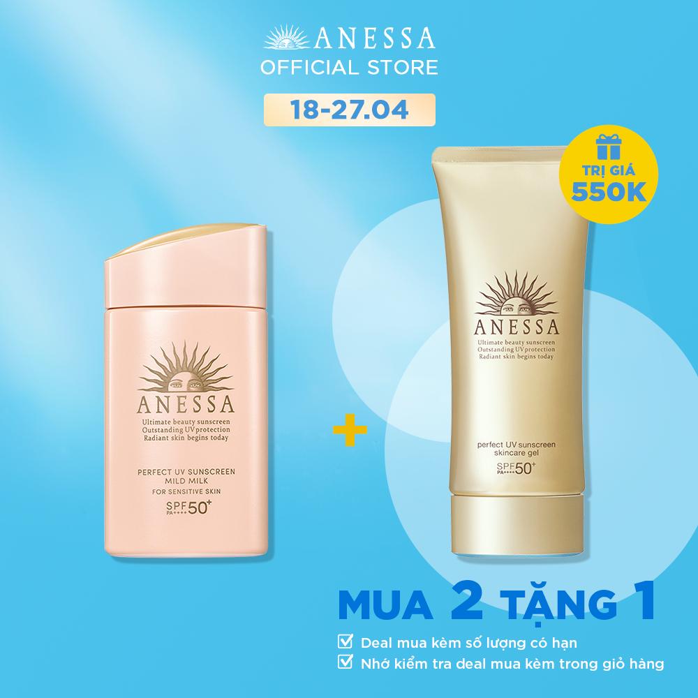 [MUA 2 TẶNG 1 GEL CHỐNG NẮNG] Kem chống nắng dạng sữa dịu nhẹ cho da nhạy cảm và trẻ em Anessa Perfect UV Sunscreen Mild Milk SPF 50+ PA++++ 60ML
