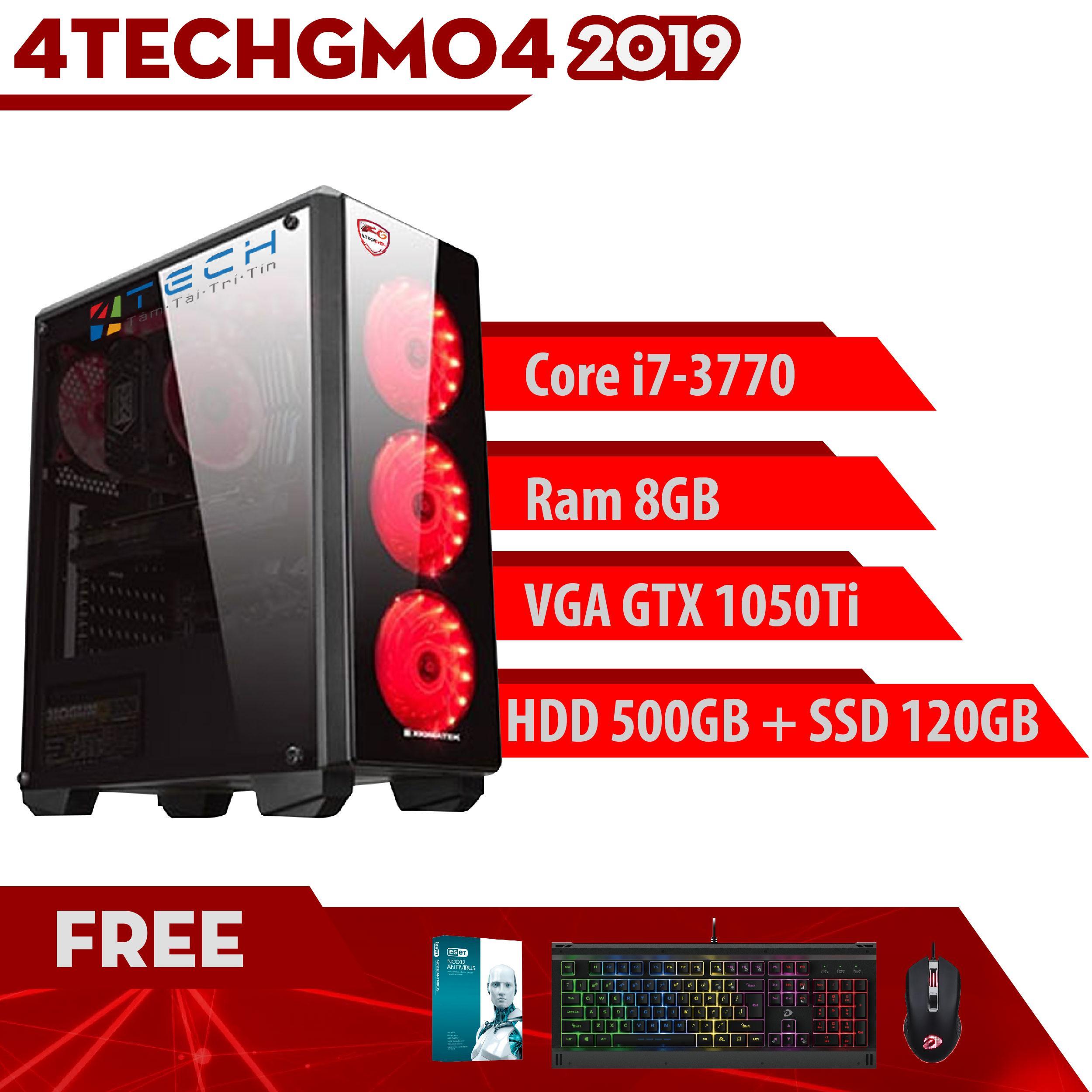 Máy Tính Chơi Game 4TechGM04 – 2019 Core i7-3770, Ram 8GB, HDD 500GB + SSD  120GB, VGA GTX 1050Ti – Tặng Bộ Phím Chuột Gaming DareU