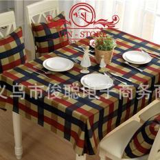 140x180cm – Khăn trải bàn cao cấp có pvc chống thấm sọc caro xanh đỏ bảng to blue red table cloth vintage canvas