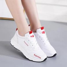 (VIDEO) Giày sneaker nữ đẹp mới nhất đế cao chống trơn, trái tim ở mũi HAPU (trắng đỏ, trắng đen)
