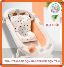 [Thu thập mã giảm thêm 30%] Thau Tắm Gấp Gọn Hanbei Dành Cho Bé Từ 0- 8 Tuổi