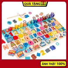Đồ chơi gỗ bảng học đa năng cho bé tập đếm, học chữ, số, hình khối, phương tiện giao thông kết hợp trò chơi câu cá vui nhộn