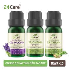 Combo 3 chai Tinh dầu Sả chanh & Tinh dầu Oải hương 24CARE 10ML/chai