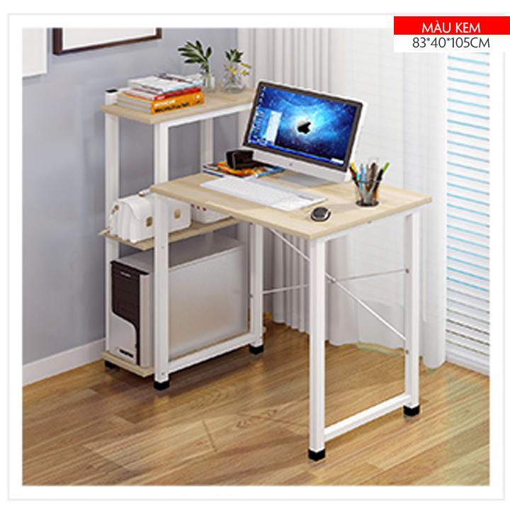 Bàn làm việc liền kệ sách, mặt bàn làm từ gỗ công nghiệp MDF có khả năng chống ẩm tốt, có ngăn kéo, bàn học, bàn laptop, bàn máy tinh, kệ sách, (ME HOME)