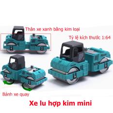 Đồ chơi mô hình xe lu mini KAVY kim loại an toàn cho bé, cỏ thể trang trí – màu xanh