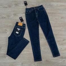 Quần jean nữ (03) lưng cao trơn màu xanh tiêu chất siêu giãn ( size 26 – 34 ) xx-03-ea10