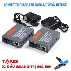 Converter Netlink HTB 3100 AB Single-mode 25 km loại 1 sợi quang tặng 02 đầu quang