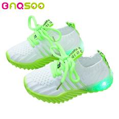 BAQSOO Giày Trẻ Em Có Đèn LED , Giày Đan, Có Màu Kẹo Và Phát Sáng Cho Bé Trai Và Bé Gái, Phù Hợp Đi Mùa Thu