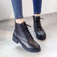Bốt dây siêu đẹp – giày boot nữ giày bốt nữ cao gót cổ cao da màu đen cột dây đế cao phong cách hàn quốc thời trang công sở học sinh đi chơi đi học giá rẻ dưới 100k