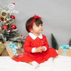 Váy jingle đỏ kèm băng đô cotton sợi tre BU
