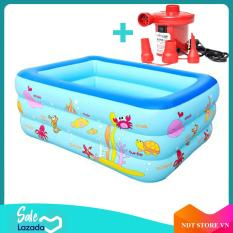 Bể bơi phao 3 tầng 1m5 cho bé, bể bơi phao gia đình hình chữ nhật 3 tầng loại dày 150cmx110cmx50cm + Tặng keo và miếng vá