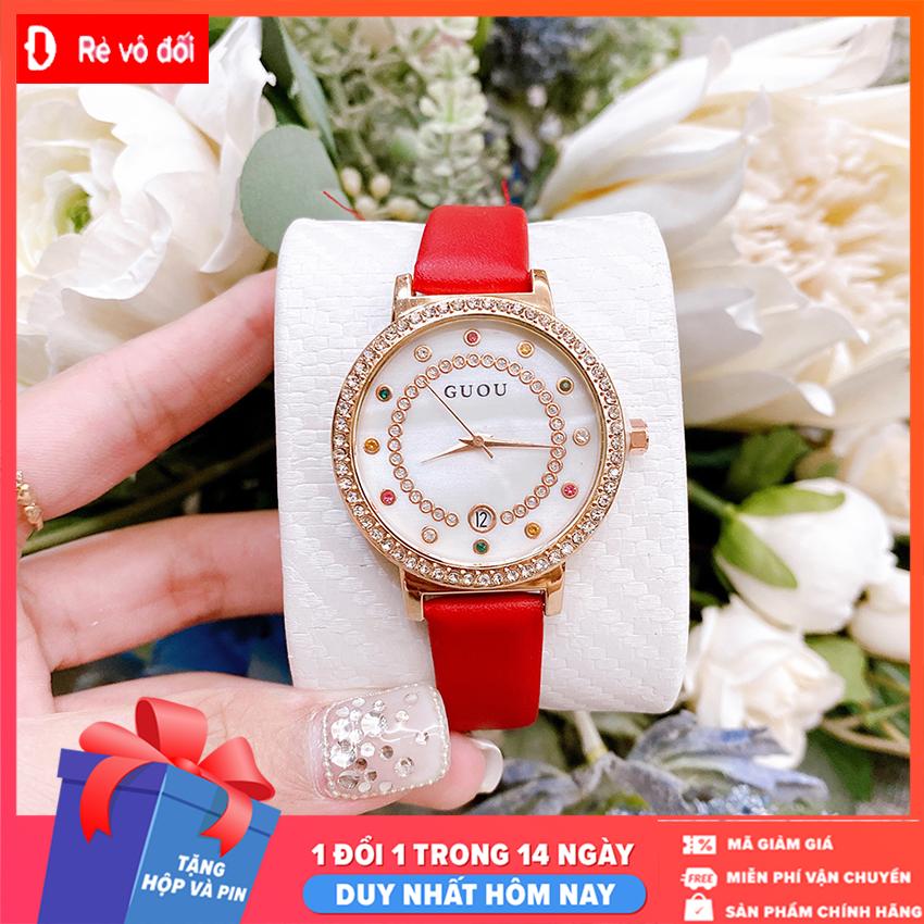 Đồng hồ nữ GUOU mặt đính đá sang trọng có lịch dây da mềm mại cực đẹp – Chống Nước Tốt- Tặng hộp và pin dự phòng – Sam Shop