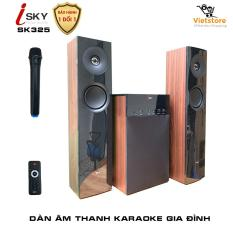 Dàn âm thanh khủng tại nhà kết nối Tivi , iphone, ipad, smartphone Hát karaoke – loa vi tính cỡ lớn âm thanh Hifi siêu Bass đỉnh cao có kết nối Bluetooth nghe nhạc qua USB thẻ nhớ Isky – SK325 (Tặng kèm Micro không dây) – Thiết kê vân gỗ