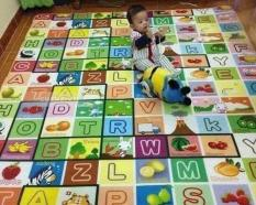 [siêu rẻ] Thảm chơi 2 mặt cho bé 3m x 2m, chất liệu cotton mút, chống trơn, phù hợp tất cả loại sàn, có kèm túi xách