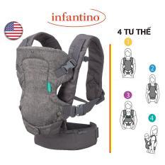 [USA] Địu 4 tư thế Infantino Flip 4-in-1 Convertible Carrier dùng cho bé đến 14.5kg của Mỹ, cơ động với 4 tư thế địu (kèm sách hướng dẫn)